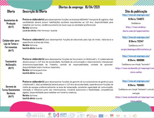 Ofertas de Emprego 16-04-2021